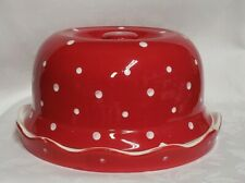 Temptations Red White Polka Dot Cake Stand/Chip Dip Tray