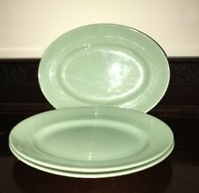 Vintage 3 WOODS WARE Beryl OVAL Fish PLATE Dish Green 27x21cm 3x RARE