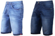 Mens Denim Shorts Stretch Slim Fit Regular Half Jeans Shorts Dark Blue Light