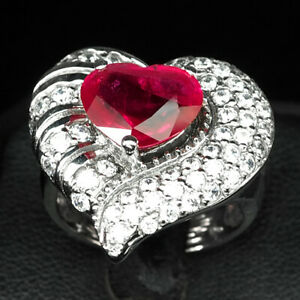 RUBY BLOOD RED HEART 7 CT. SAPP 925 STERLING SILVER RING SIZE 7.25 JEWELRY GIFT