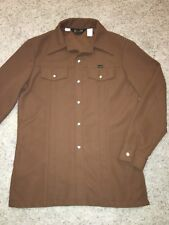 VTG Wrangler 1970s Men's Brown Button Shirt Pearl Snaps Western Cowboy Rodeo L