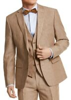 Bar III Mens Sports Coat Brown Size 36 Slim-Fit Pinstripe Linen $110 #004