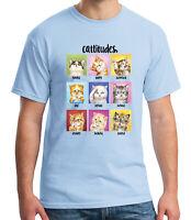 Cattitudes Adult's T-shirt Happy surprised sad curious Cat Tee for Men - 2100C