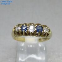 ANTIQUE OLD CUT DIAMOND & SAPPHIRE SOLID 18K GOLD 5 STONE RING UK J & U.S 4 5/8