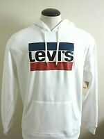 Levis Mens Pullover Hoodie Cotton Blend Sweatshirt White Blue Red NWT Free Ship
