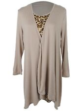 Ali-Market S/M Fit Beige Open Front Shawl Collar Cardigan Leopard Print Dress