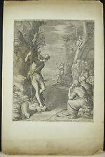 GRABADO Raphael SADELER II & Mariette Saint Jean Baptiste en el desierto c 1600