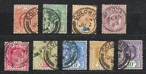 Ceylon #166-174    Wmk.2 Short Set  to 30c  King Edward VII  1903-05 Cat. $39.