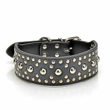 18-24`` Leather Studded Large Dog Collar  Pet Collar(Black,Small)