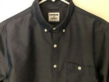 EXPRESS MENS LS NAVY DRESS SHIRT BUTTON UP/WHITE BUTTONS SZ M