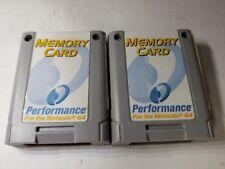 TWO GRAY PERFORMANCE 256K MEMORY CARD CONTROLLER PAK PACK for NINTENDO 64 N64 J8