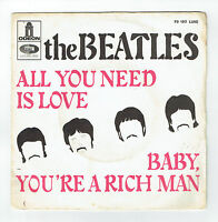 The BEATLES Vinyl 45T ALL YOU NEED IS LOVE -BABY YOU'RE RICH MAN -ODEON 103 RARE