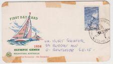 Olympic Games 1956 stamp Australia 7&1/2d on souvenir card torch bearer postmark
