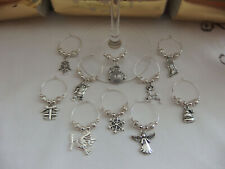 Christmas Wine Glass Charms x 10 - Secret Santa, Table Decoration, Party Gift