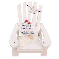 Mini Fairy White Wooden Chair Dollhouse Garden Home Sea Beach Decor,white J1G1