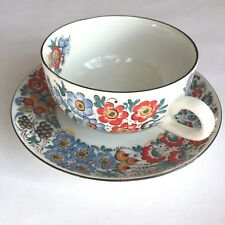 Opole Polish Pottery Signed Hand Painted Cup Saucer Flowers Traditional Vintage