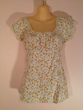 Filo Women's Size S White Short Sleeve Fitted Top with Flowers & Lace Trim