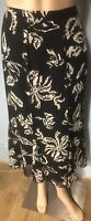 Gerry Weber Womens Midi Flare Floral Lined Skirt Uk Size 14 Black Beige Gt Con