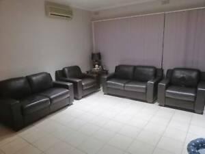 Plush 100% Leather sofa & chairs