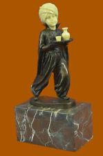 Vintage Sign Arab Boy Server Bronze Sculpture Book-End Statue Figure Art Decor