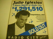 JULIO IGLESIAS 7 Starry Nights at RADIO CITY MUSIC HALL 1991 Promo Poster Ad