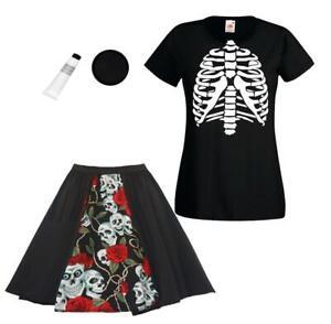 Ladies Halloween Day of The Dead  Skeleton Bones Rib Cage T-Shirt & Skirt