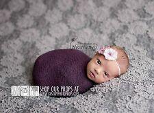 Eggplant Purple Newborn Baby Girl Nubble Stretch Wrap Photography Prop, Hammock