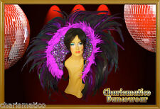Purple Brazil Drag Queen Transvestite Feather Samba Rio Carnival Collar Backpack