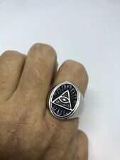 1980's Vintage Stainless Steel Illuminati Eye Size 10 Men's Ring