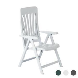 Garden Armchair Chair Resol Blanes Adjustable Folding Plastic Lounger White