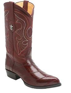 Mens Los Altos Genuine EEL Skin J Toe Wine Handmade TrendIng Western Urban Boot