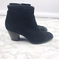 Paul Green Reese Black Suede Leather Ankle Boots Booties Zip Women's Size 7.5