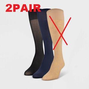 Peds Women's 2pk Light Opaque Trouser Socks Navy/Black 5-10