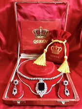 ROYAL ELEGANCE QUEEN STYLE SAPPHIRE AND DIAMOND JEWELRY SET NECKLACE & EARRINGS