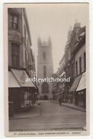 Cardiff St Johns Church View Through Church Street Vintage RP Postcard 164c