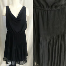 Little Black Cocktail Dress Sz 2x Drape neck Crinkly Textured Bottom Sleeveless
