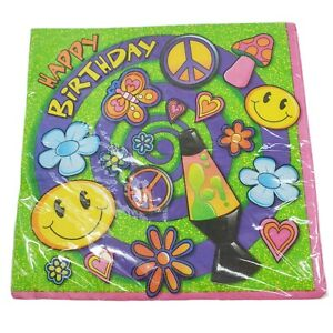 Vintage Unique Happy Birthday Lunch Napkins Peace Groovy Love Hippie Sealed NOS