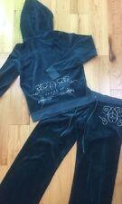 """Women's JUICY COUTURE Sz L XL Blue Green """"Femme De Juicy"""" 2 PC Track Suit"""