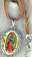 """Our Lady of Guadalupe Pendant 18"""" Multiple Brown Cord w/ Extender Chain"""