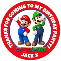 48 Personalised Super Mario Brothers Party Bag Stickers Cone Labels 40mm