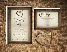 Wedding Invitations Wood Burlap & Twine Heart Rustic 50 Invitations & RSVP Card