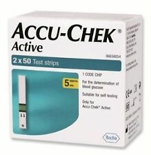 Accu-Chek Active 100 Test Strips, 2x50 Strips with 1 Code Chip | Expiry:11/2019