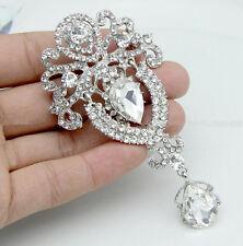 Fashion Big Flower Bridal Brooch Rhinestone Crystal Diamante Wedding Broach Pin