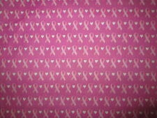 BREAST CANCER RIBBONS MAUVE PURPLE PINK COTTON FABRIC FQ