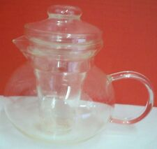 """Primula Clear Glass Teapot Tea Pot With Infuser and Lid 5 1/4""""H x 5 1/2""""D"""