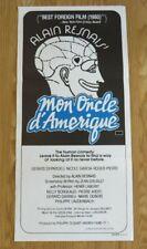 Mon oncle d'Amérique ORIGINAL 1980 CINEMA DAYBILL FILM POSTER Gereard Depardieu