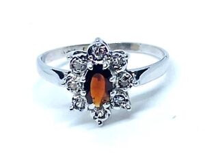 Garnet and Diamond ring in 9ct gold