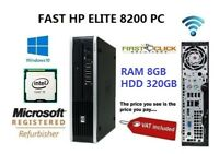 FAST HP i5 QUAD CORE PC COMPUTER DESKTOP TOWER WINDOWS 10 WIFI 8GB RAM 320GB