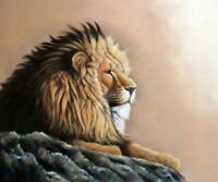 CHOP386  handmade-painted peaceful lion animal  art oil painting on canvas
