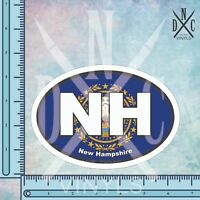 New Hampshire NH State Flag Oval Euro Bumper Sticker Decal -Car Truck Auto Euro